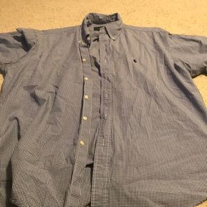 Checked blue and white Polo long sleeve button